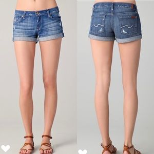 7 For All Mankind Distressed Roll-Up Denim Shorts